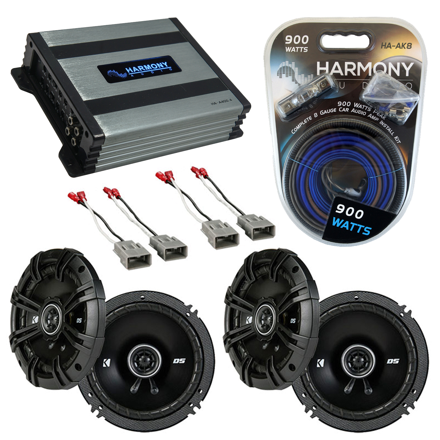 Kicker Bundle Compatible With 2001-06 Acura MDX (2) DSC65 New Factory Speaker Replacement Upgrade Package With HA-A400.4 Amplifier