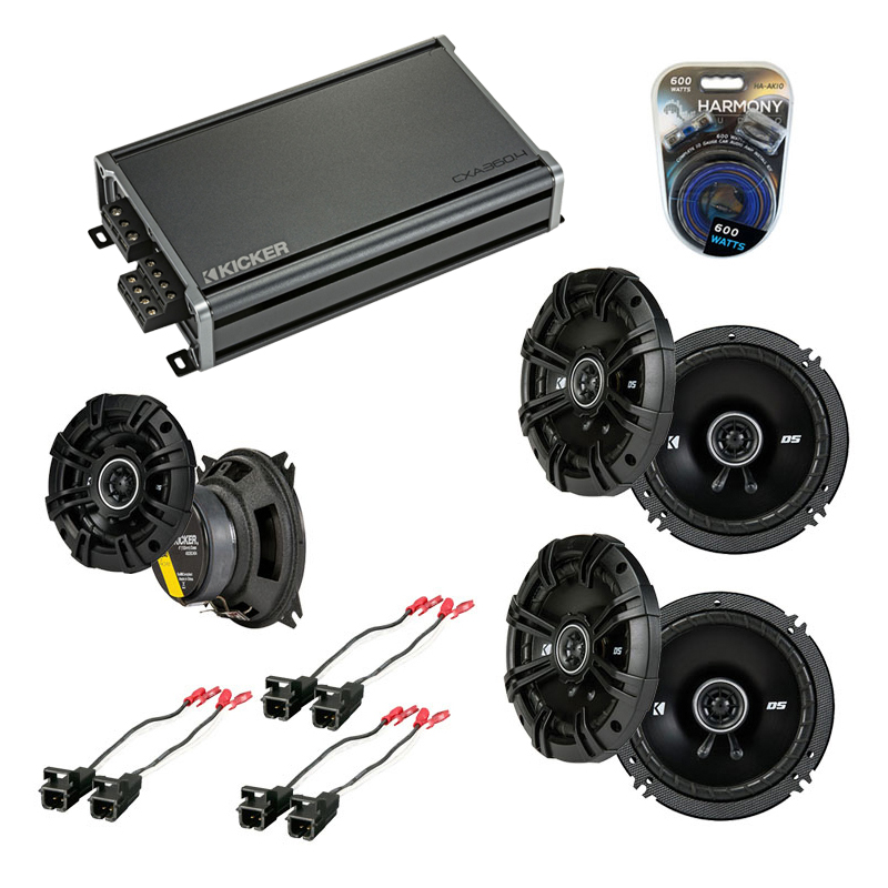 Kicker Compatible With 2003-07 Hummer H2 (2) DSC65 DSC4 New Factory Speaker Replacement Upgrade Package With CXA360.4 Amplifier