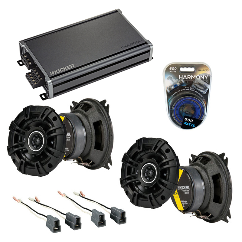 Compatible with Hyundai Excel 1986-1994 Speaker Replacement Kicker (2) KSC4 & CXA360.4 Amp