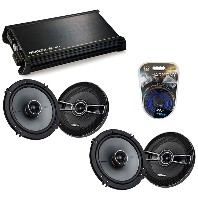 Hyundai Veracruz 2007-2011 OEM Speaker Upgrade Kicker (2) KSC65 & DX400.4 Amp