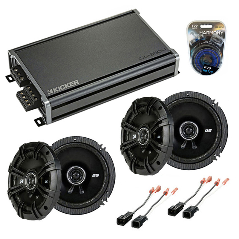 Compatible with Jeep Cherokee 1997-2001 Speaker Replacement Kicker (2) DSC65 & CXA360.4 Amp