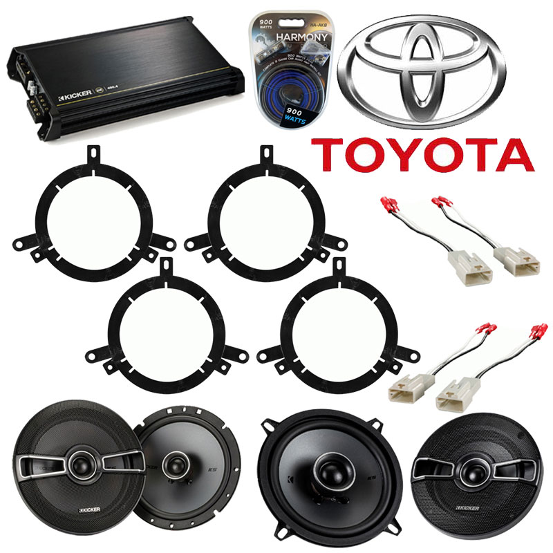 Toyota Corolla 1998-2000 Factory Speaker Upgrade Kicker KSC5 KSC65 & DX400.4 Amp