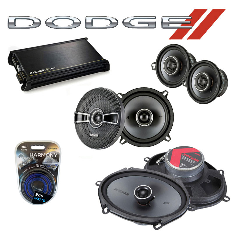Dodge Aries 1981-1983 Factory Speaker Upgrade Kicker KS Package & DX400.4 Amp