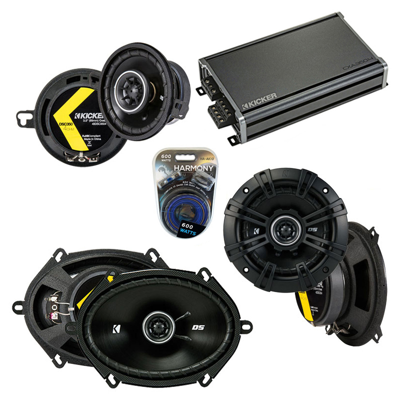 Compatible with Dodge Aries 1984-1989 Factory Speaker Replacement Kicker DS & CXA300.4 Amp