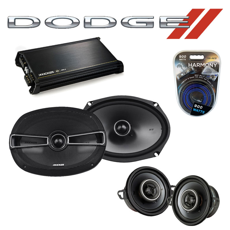 Dodge Aspen 1976-1980 Factory Speaker Upgrade Kicker KSC35 KSC69 & DX400.4 Amp