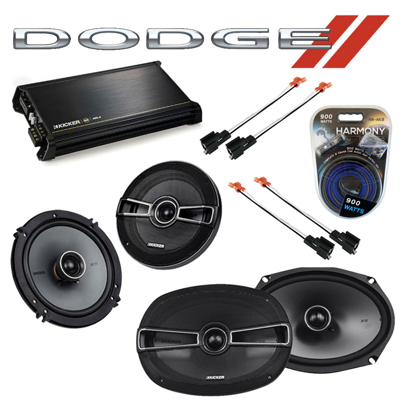 Dodge Avenger 1995-2000 Factory Speaker Upgrade Kicker KSC65 KSC69 & DX400.4 Amp
