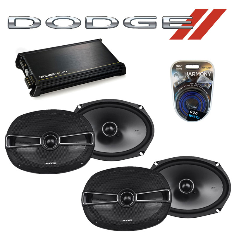 Dodge Avenger 2007-2014 Factory Speaker Upgrade Kicker (2) KSC69 & DX400.4 Amp