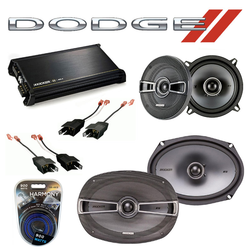 Dodge Caravan 1984-2000 Factory Speaker Upgrade Kicker KSC5 KSC69 & DX400.4 Amp