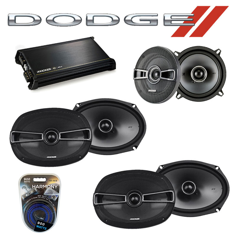 Dodge Caravan 2002-2007 OEM Speaker Upgrade Kicker (2) KSC69 KSC5 & DX400.4 Amp