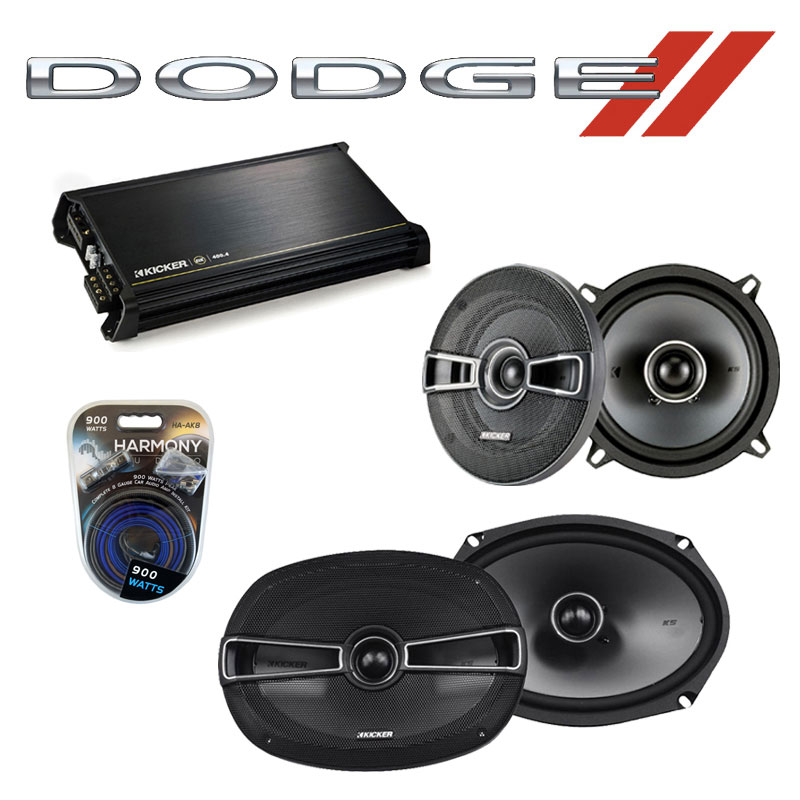 Dodge Challenger 2008-2014 OEM Speaker Upgrade Kicker KSC69 KSC5 & DX400.4 Amp