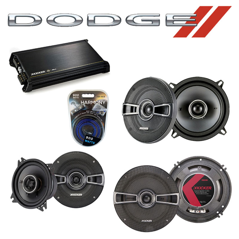 Dodge Colt 1985-1986 OEM Speaker Upgrade Kicker KSC5 KSC4 KSC65 & DX400.4 Amp