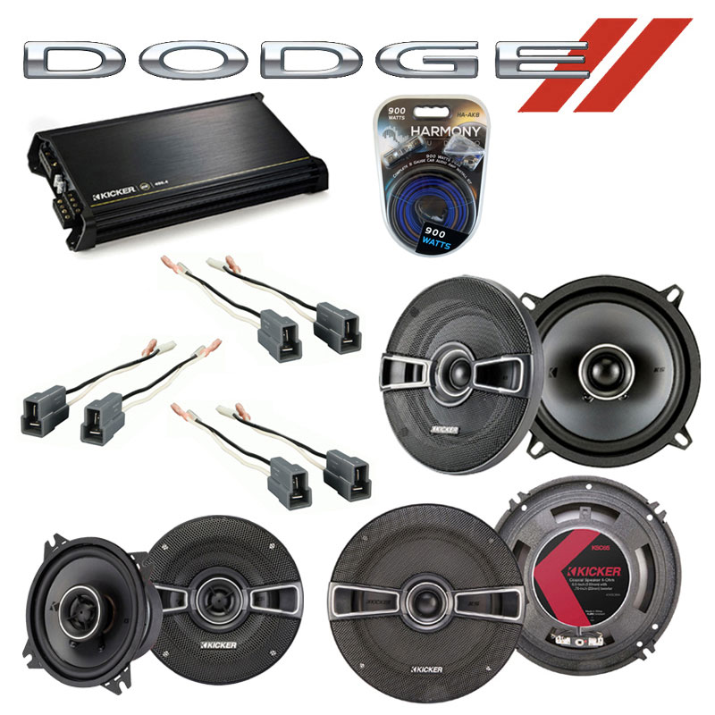 Dodge Colt 1987-1992 OEM Speaker Upgrade Kicker KSC5 KSC4 KSC65 & DX400.4 Amp
