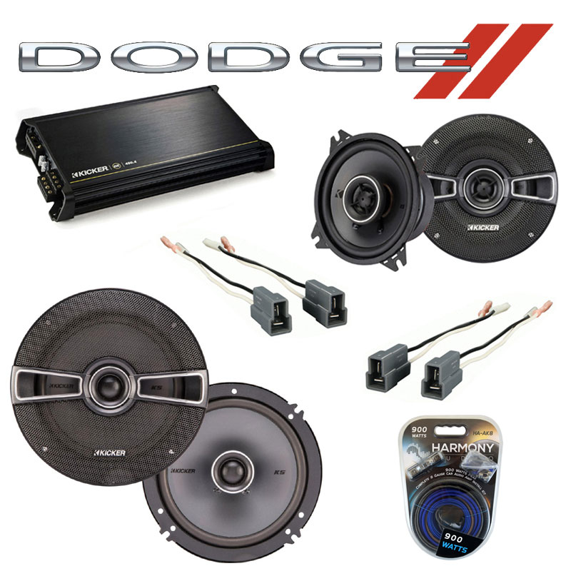 Dodge D-50 Truck 1987-1993 OEM Speaker Upgrade Kicker KSC4 KSC65 & DX400.4 Amp