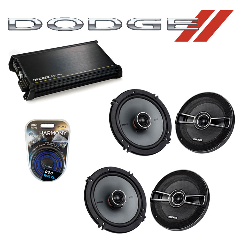 Dodge Dakota 2005-2007 Factory Speaker Replacement Kicker (2)KSC65 & DX400.4 Amp