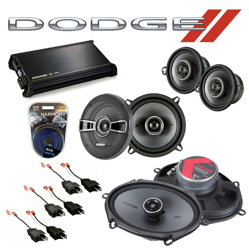 Dodge Daytona 1984-1993 Factory Speaker Upgrade Kicker KS Package & DX400.4 Amp