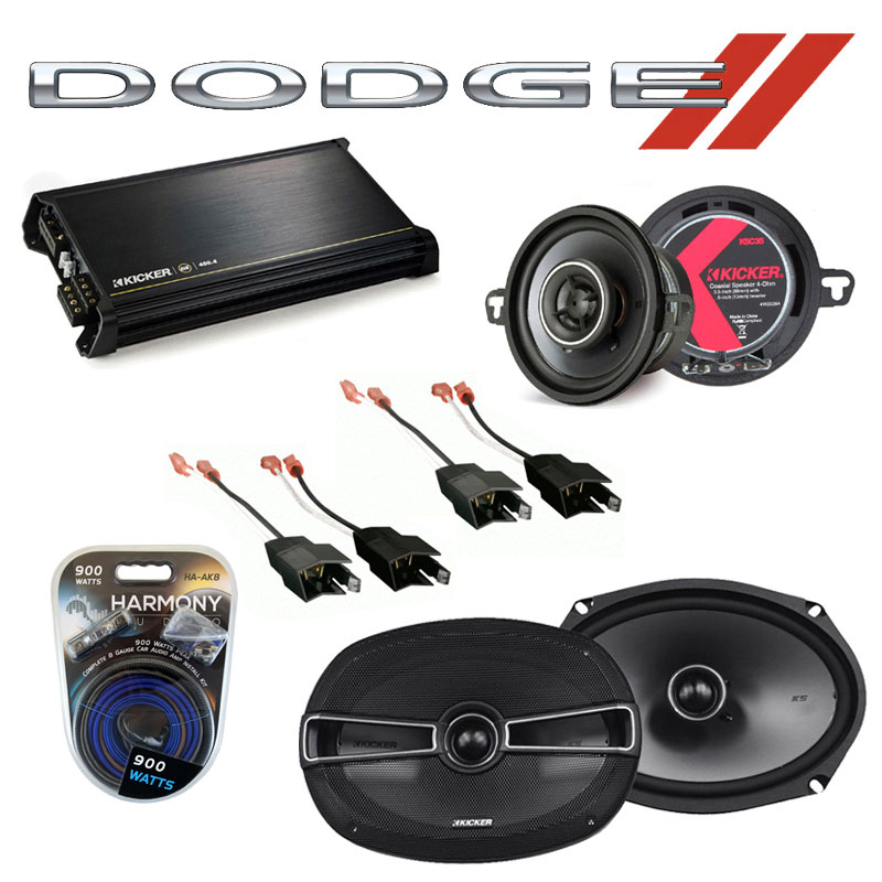 Dodge Diplomat 1984-1989 OEM Speaker Upgrade Kicker KSC35 KSC69 & DX400.4 Amp