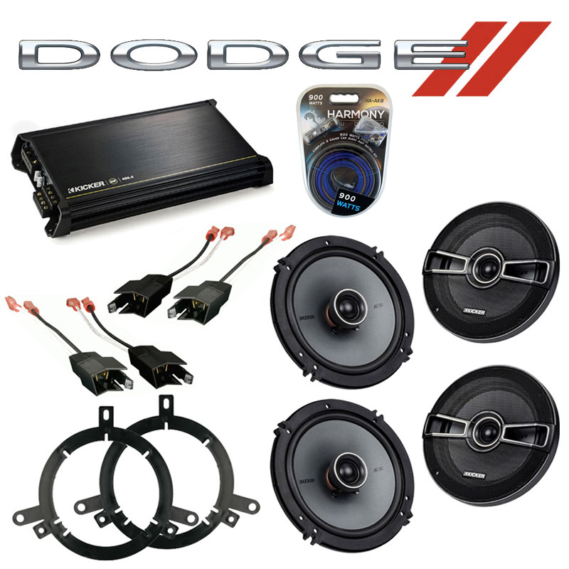 Dodge Durango 1998-2001 Factory Speaker Upgrade Kicker (2) KSC65 & DX400.4 Amp