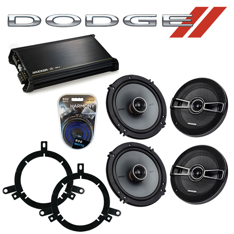 Dodge Durango 2002-2003 Factory Speaker Upgrade Kicker (2) KSC65 & DX400.4 Amp