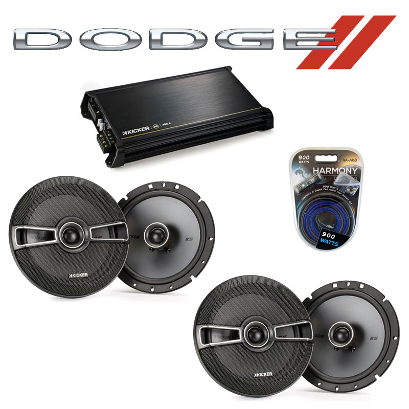 Dodge Durango 2008-2009 Factory Speaker Upgrade Kicker (2) KSC67 & DX400.4 Amp