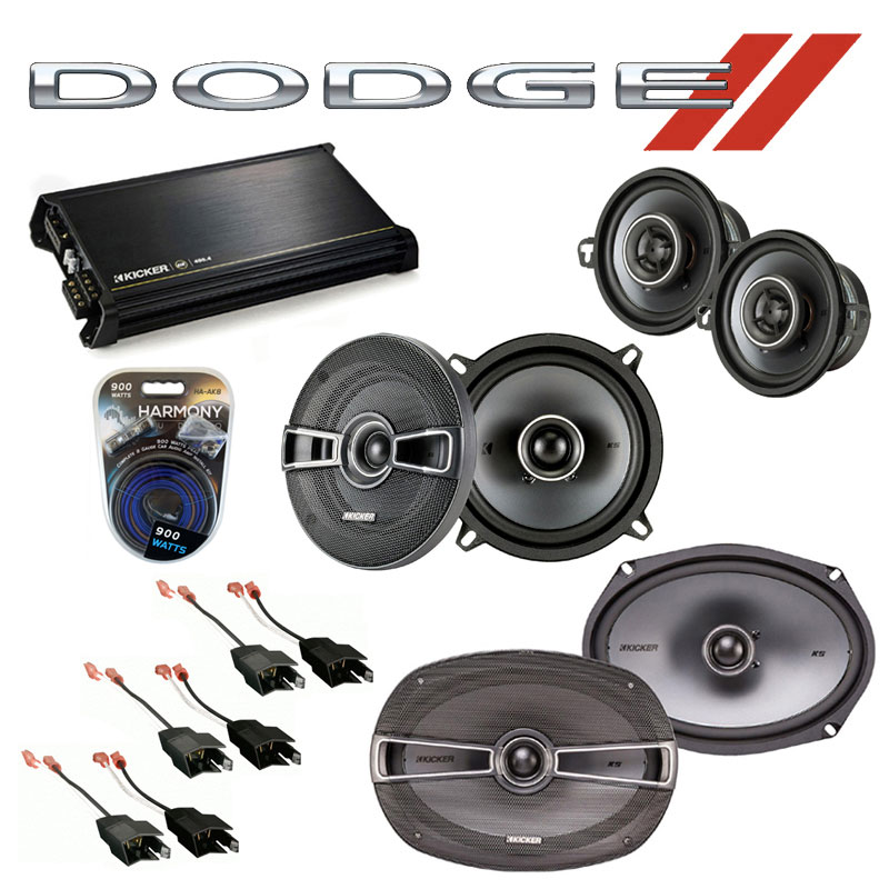 Dodge Dynasty 1988-1993 Factory Speaker Upgrade Kicker KS Package & DX400.4 Amp