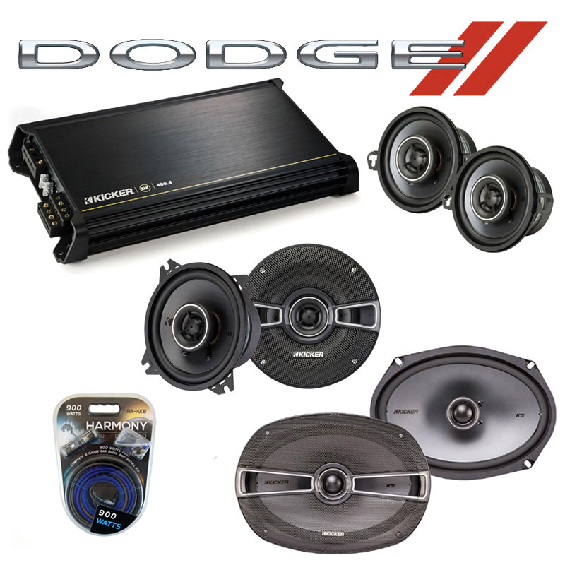 Dodge Intrepid 1993-1997 Factory Speaker Upgrade Kicker KS Package & DX400.4 Amp