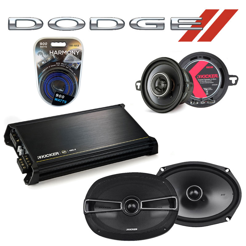Dodge Mirada 1983-1983 Factory Speaker Upgrade Kicker KSC35 KSC69 & DX400.4 Amp