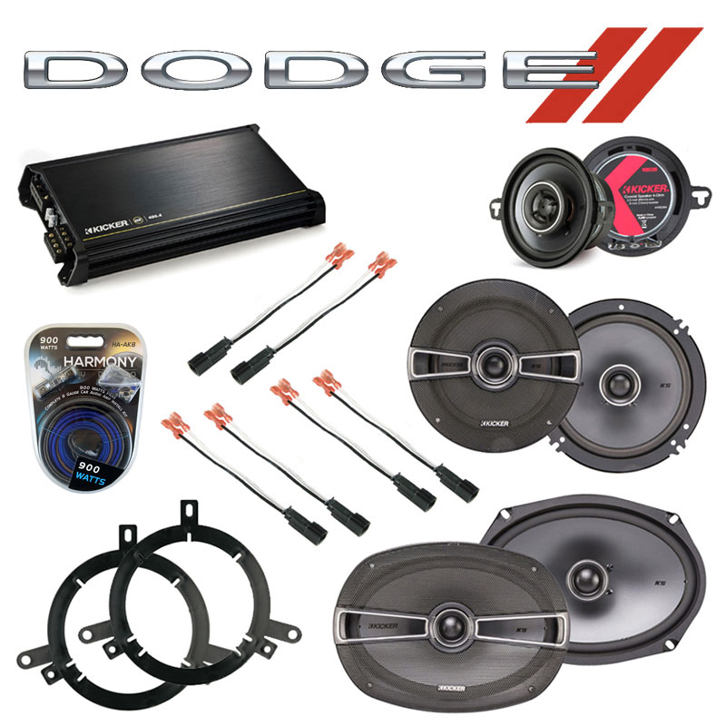 Dodge Neon 1995-2001 Factory Speaker Replacement Kicker KS Package & DX400.4 Amp