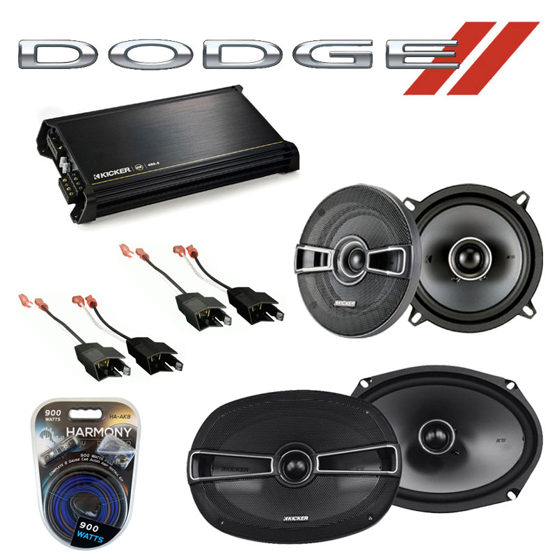 Dodge Ram Charger 1984-1993 OEM Speaker Upgrade Kicker KSC69 KSC5 & DX400.4 Amp
