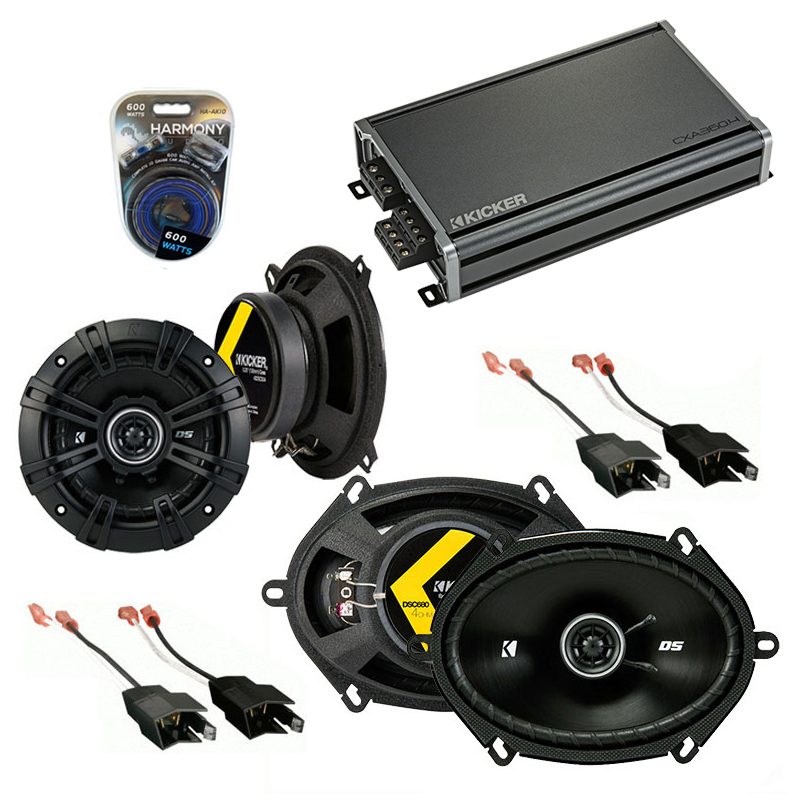 Dodge Shadow 1987-1995 Factory Speaker Upgrade Kicker DSC5 DSC68 & CXA300.4 Amp