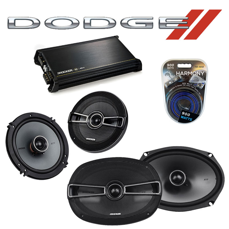Dodge Stealth 1990-1996 Factory Speaker Upgrade Kicker KSC65 KSC69 & DX400.4 Amp