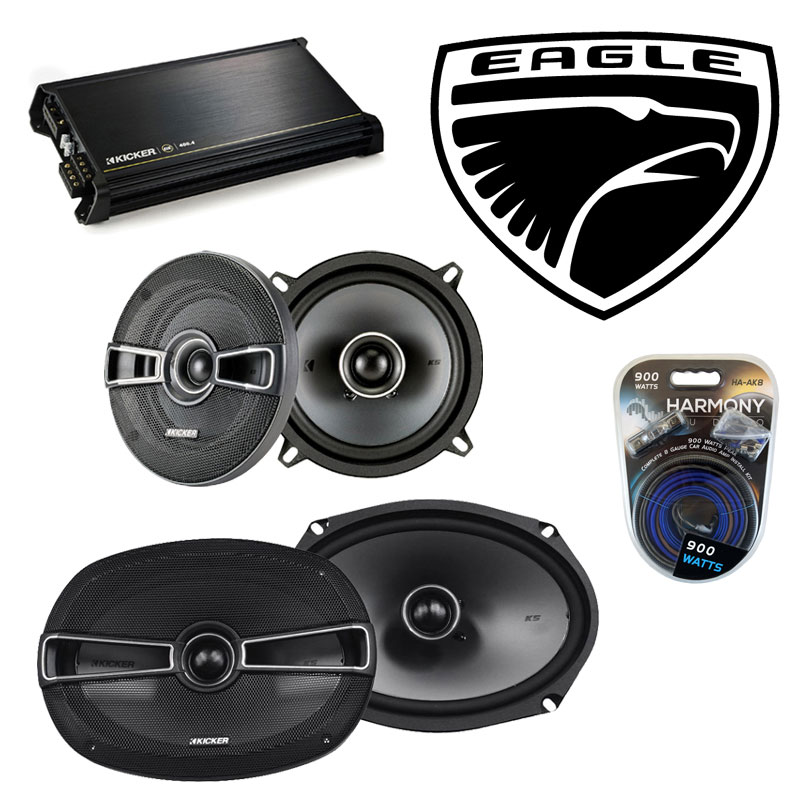 Eagle Premier 1988-1992 Factory Speaker Upgrade Kicker KSC5 KSC69 & DX400.4 Amp