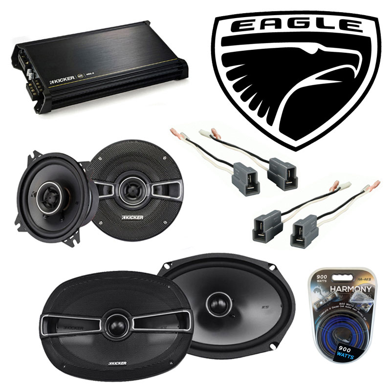 Eagle Summit 1988-1992 Factory Speaker Upgrade Kicker KSC4 KSC69 & DX400.4 Amp
