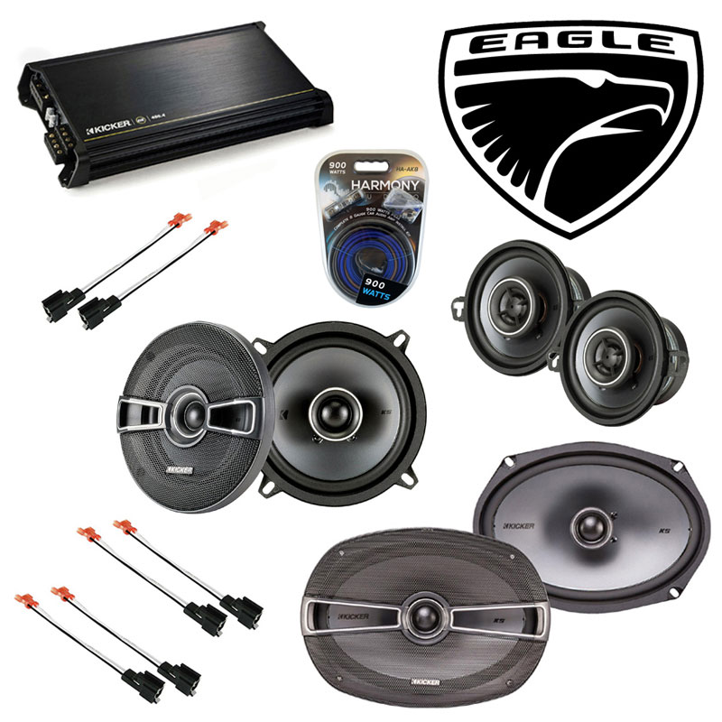 Eagle Vision 1993-1997 OEM Speaker Upgrade Kicker KSC5 KSC35 KSC69 & DX400.4 Amp