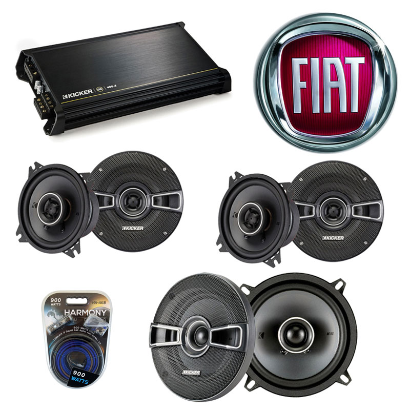 Fiat Spider 1970-1983 Factory Speaker Replacement Kicker KSC4 KSC5 & DX400.4 Amp