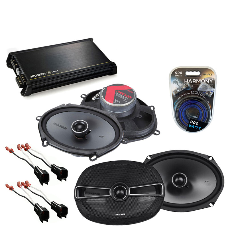Ford Crown Victoria 98-11 OEM Speaker Upgrade Kicker KSC68 KSC69 & DX400.4 Amp