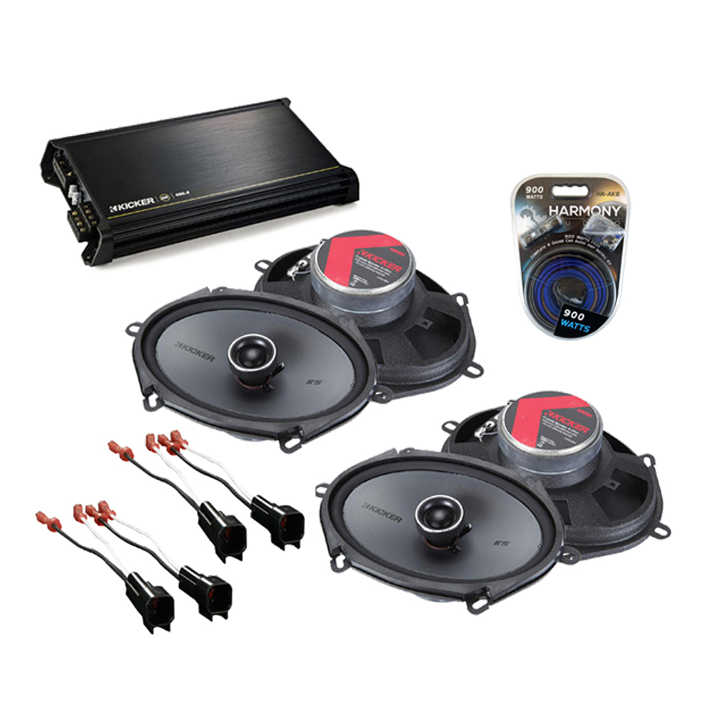 Ford Edge 2007-2010 Factory Speaker Replacement Kicker (2) KSC68 & DX400.4 Amp
