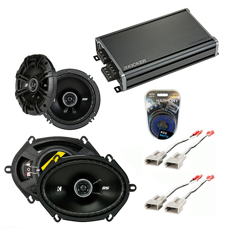 Compatible with Ford F-Series Truck 1987-1996 Speaker Replacement Kicker DS Pack & CXA360.4 Amp