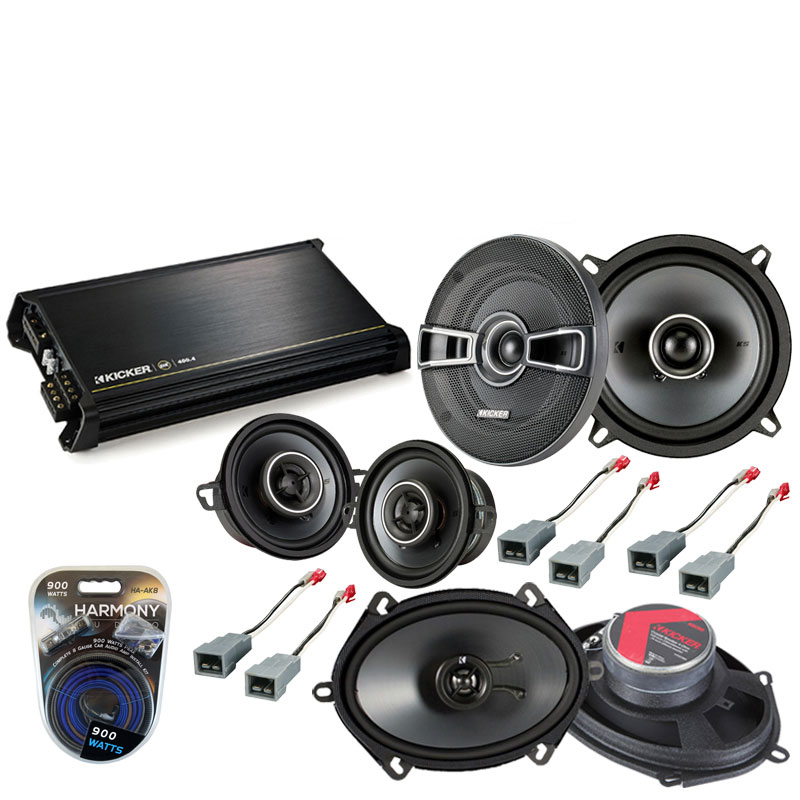 Ford Mustang 1986-1993 Factory Speaker Upgrade Kicker KS Series & DX400.4 Amp