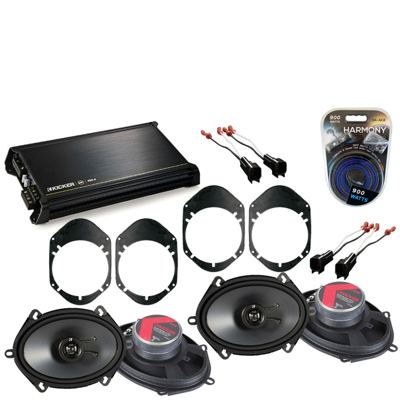 Ford Taurus 2000-2007 Factory Speaker Replacement Kicker (2) KSC68 & DX400.4 Amp
