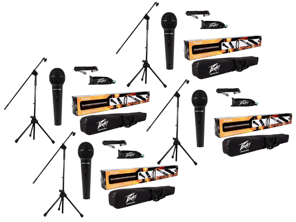 (4) Peavey PV-MSP1 Complete Microphone, Stand, Bag & XLR Combo Stage Package