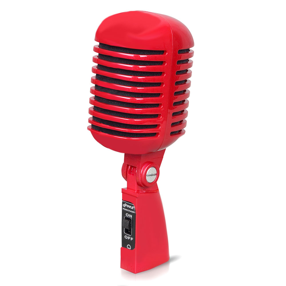 Pyle Pro Audio PDMICR42R Dynamic Vocal Microphone Red Color w/ Cardioid Polar Pattern & Classic Retro Style
