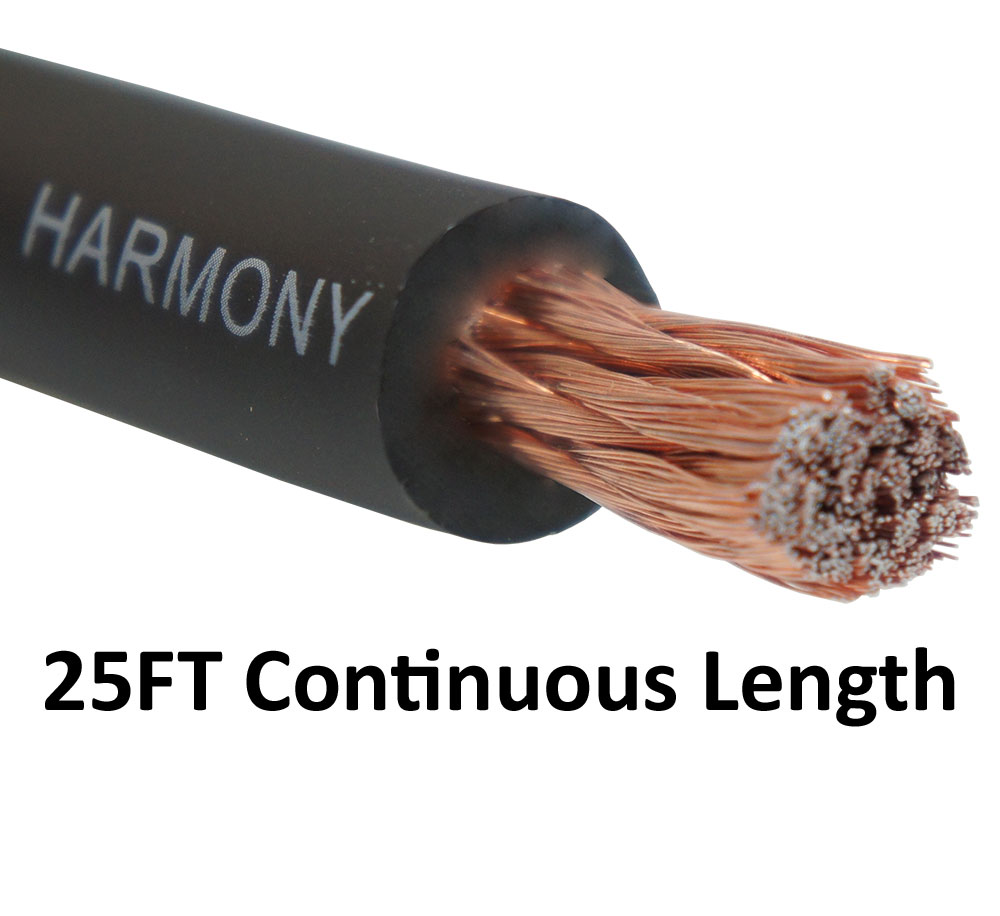 Harmony Audio 1/0 0 Gauge Car Stereo Matte Black Power Cable Amp Wire - 25 FT