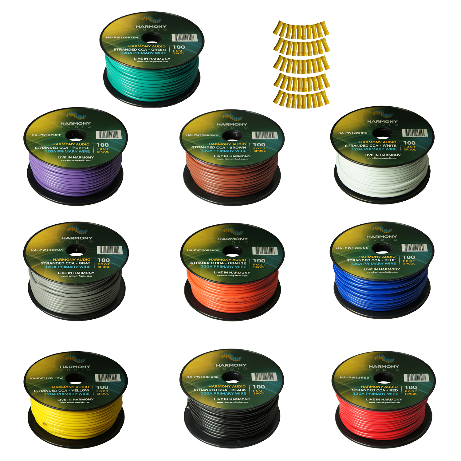 Harmony Audio Primary Single Conductor 12 Gauge Power or Ground Wire - 10 Rolls - 1000 Feet - Color Mix for Car Audio / Trailer / Model Train / Remote