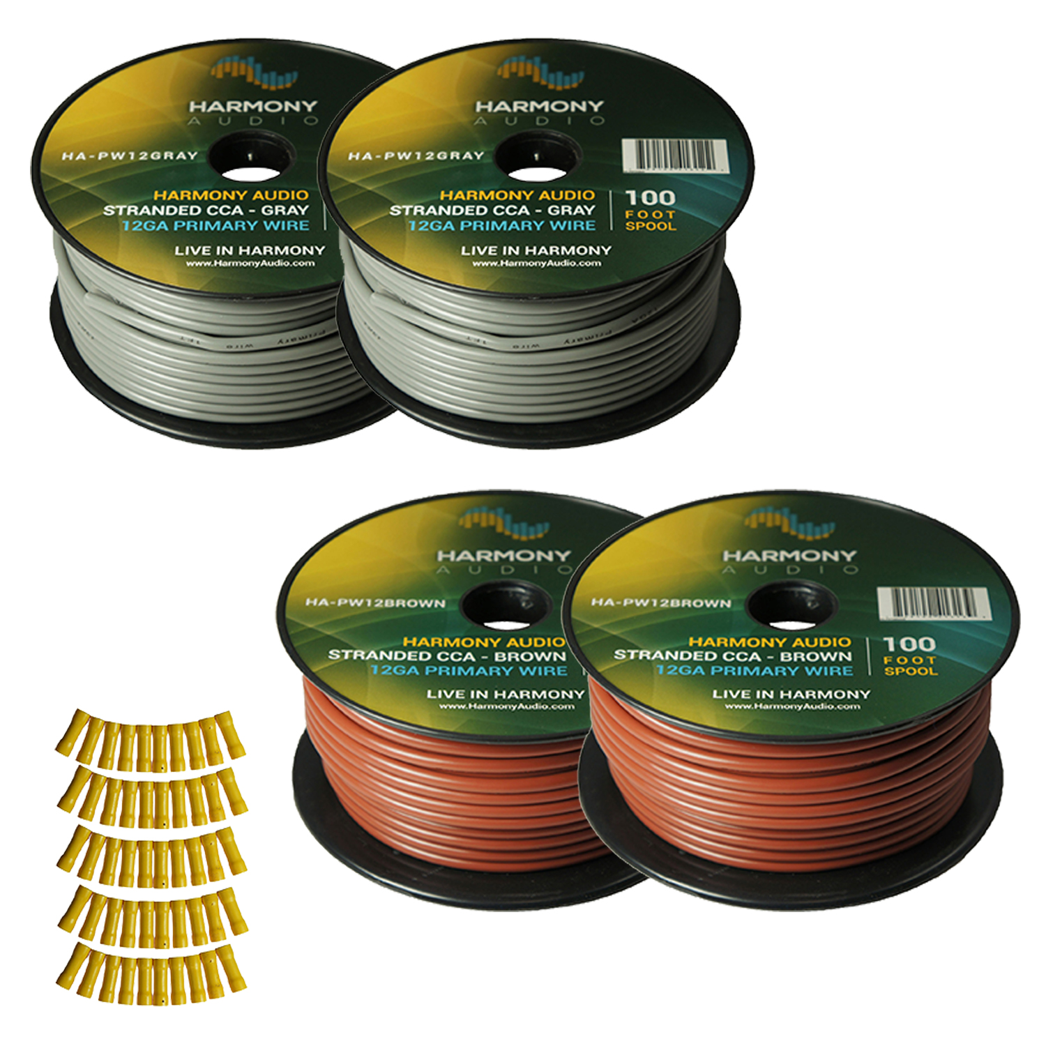 Harmony Audio Primary Single Conductor 12 Gauge Power or Ground Wire - 4 Rolls - 400 Feet - Gray & Brown for Car Audio / Trailer / Model Train / Remote