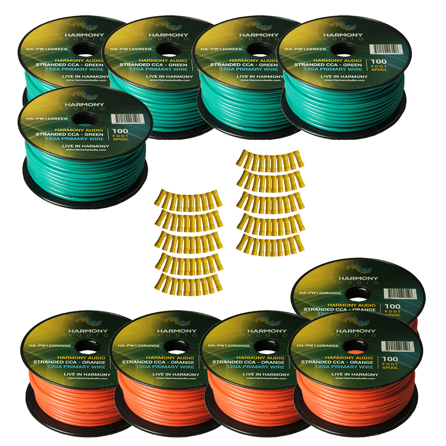 Harmony Audio Primary Single Conductor 12 Gauge Power or Ground Wire - 10 Rolls - 1000 Feet - Green & Orange for Car Audio / Trailer / Model Train / Remote