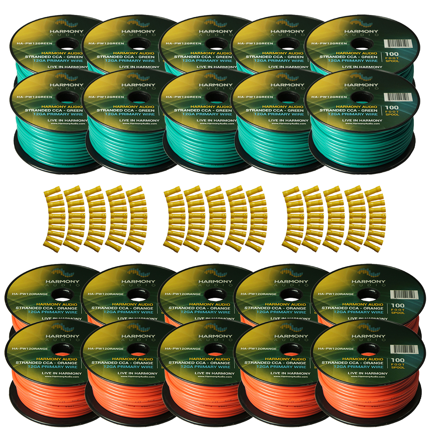 Harmony Audio Primary Single Conductor 12 Gauge Power or Ground Wire - 20 Rolls - 2000 Feet - Green & Orange for Car Audio / Trailer / Model Train / Remote