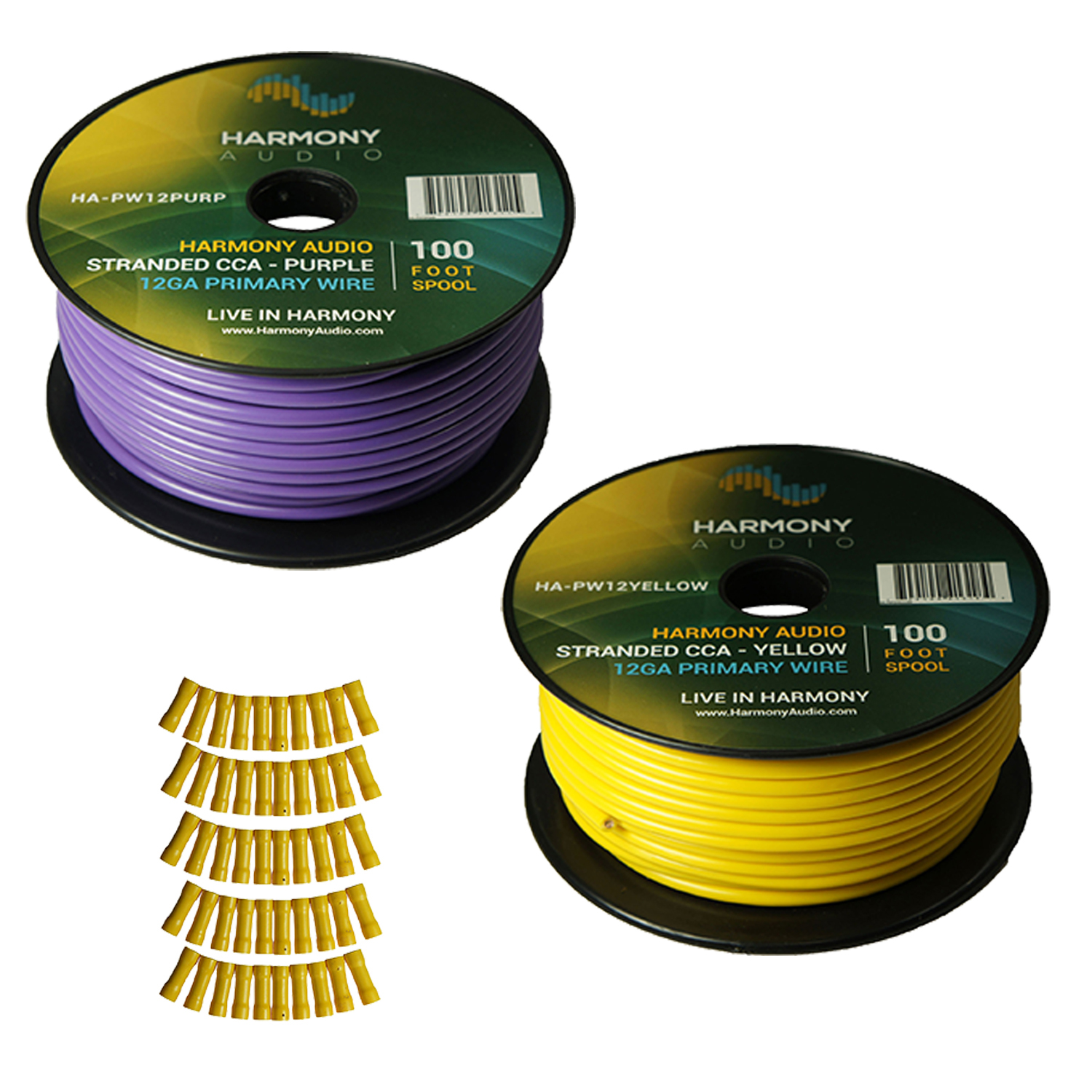 Harmony Audio Primary Single Conductor 12 Gauge Power or Ground Wire - 2 Rolls - 200 Feet - Yellow & Purple for Car Audio / Trailer / Model Train / Remote