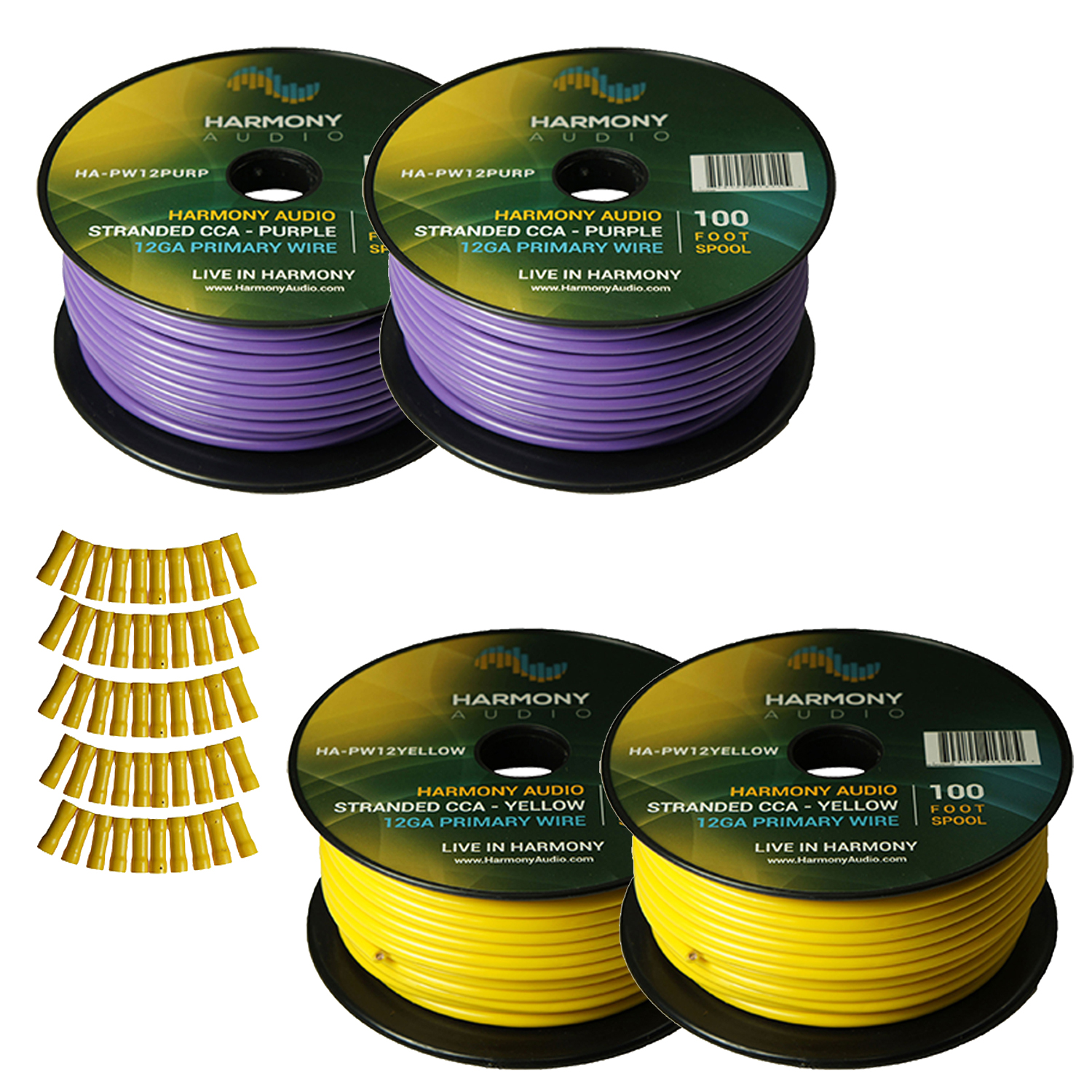 Harmony Audio Primary Single Conductor 12 Gauge Power or Ground Wire - 4 Rolls - 400 Feet - Yellow & Purple for Car Audio / Trailer / Model Train / Remote