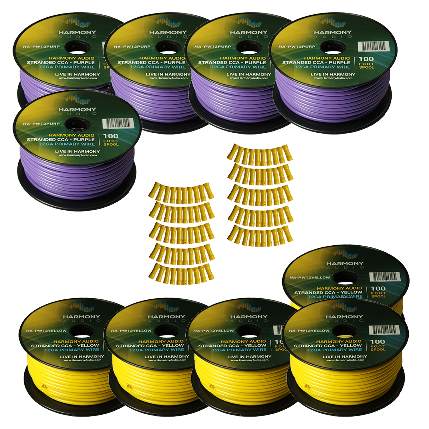 Harmony Audio Primary Single Conductor 12 Gauge Power or Ground Wire - 10 Rolls - 1000 Feet - Yellow & Purple for Car Audio / Trailer / Model Train / Remote