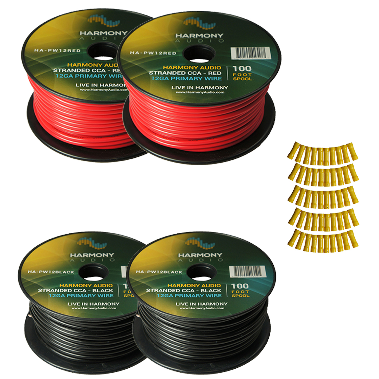 Harmony Audio Primary Single Conductor 12 Gauge Power or Ground Wire - 4 Rolls - 400 Feet - Red & Black for Car Audio / Trailer / Model Train / Remote